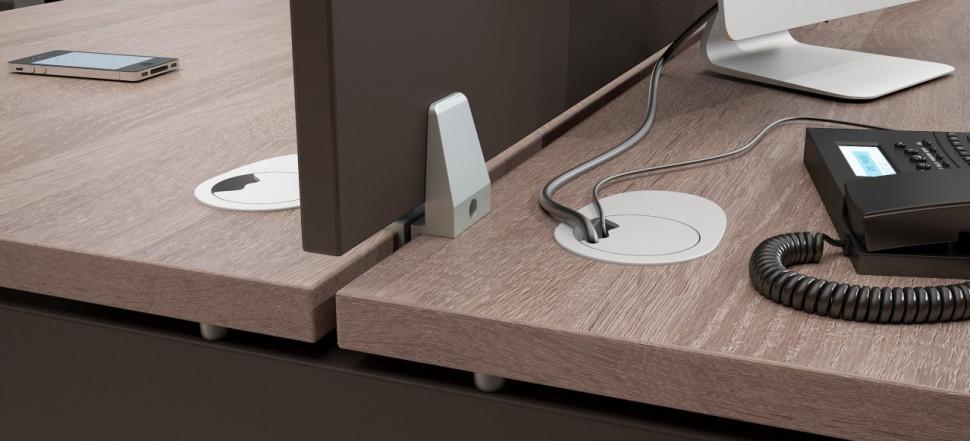 XTEN стол двойной и экран с фурнитурой в деталях